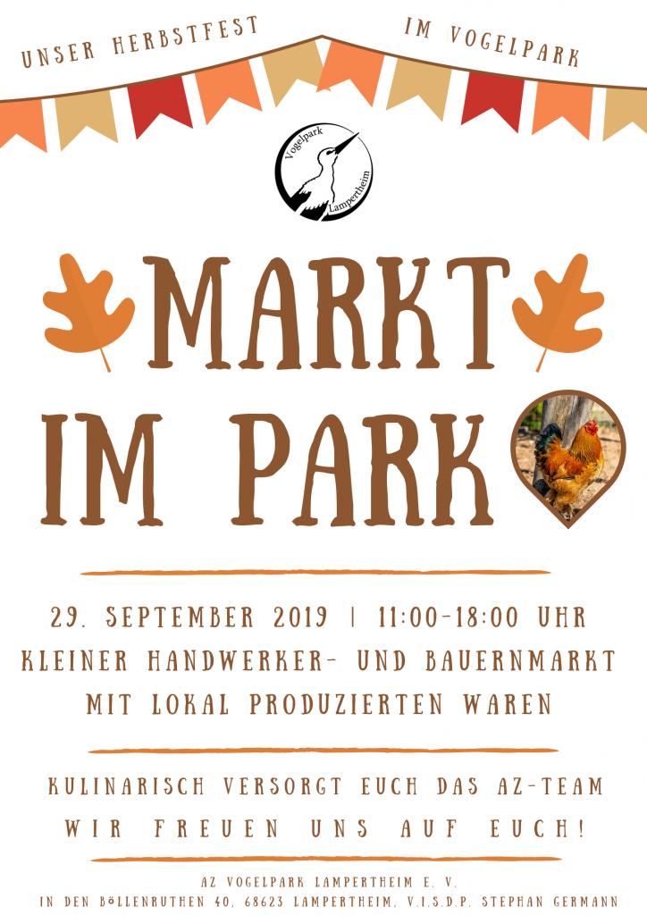 """Einladungsplakat zu """"Markt im Park"""""""