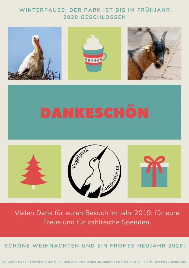 Plakat mit Dank an alle Besucher im Jahr 2019
