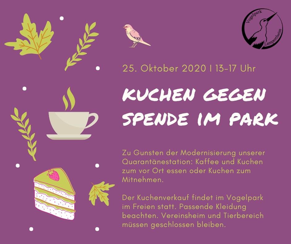 Plakat für den Kuchenverkauf im Vogelpark am 25. Oktober 2020